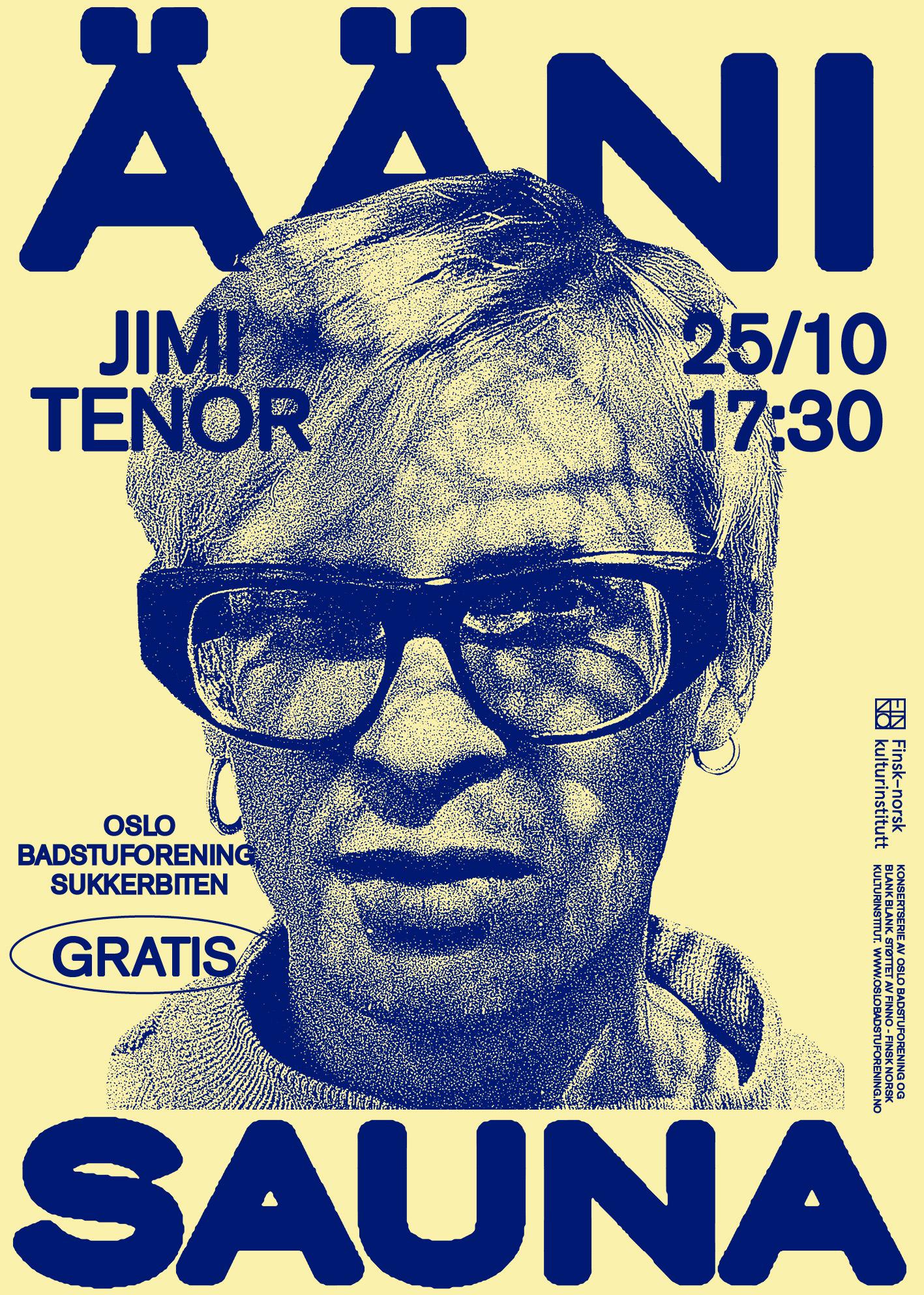 Illustration of a man's head. Text: Ääni Sauna