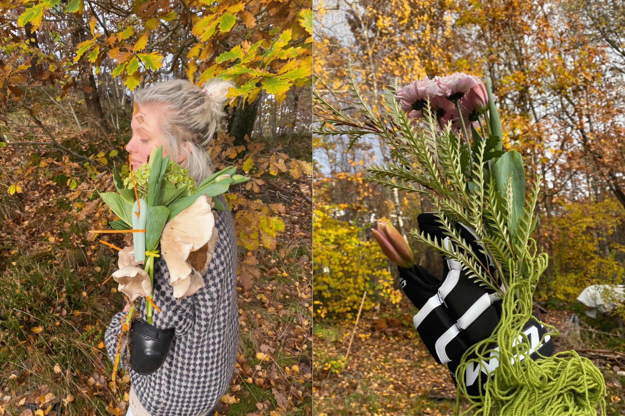 Blomster-søppelkunstverkene i skogen