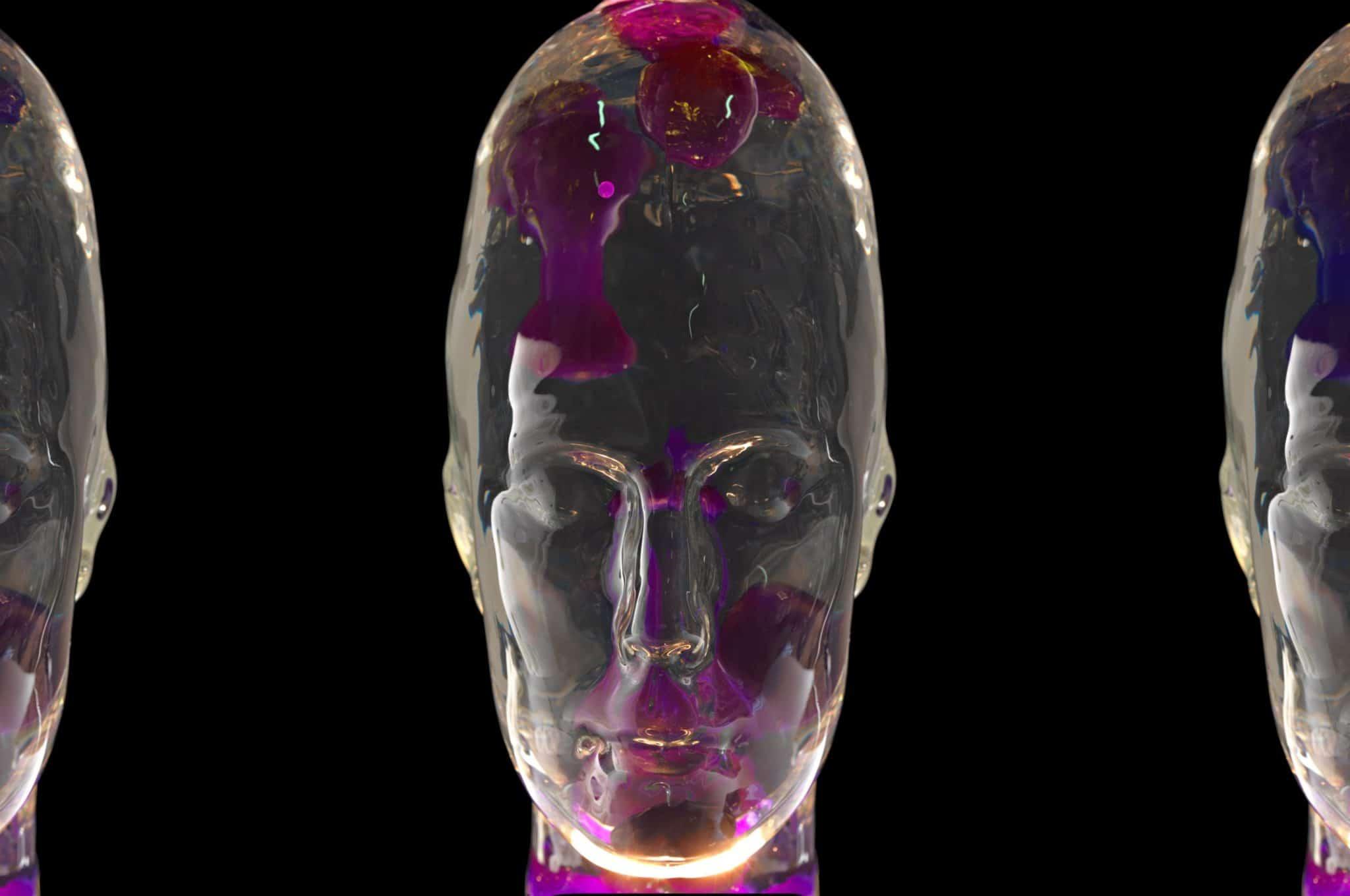 Lavalampe i form av et menneskehode